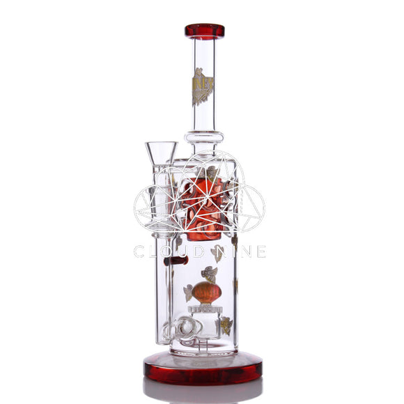 Honeycomb Fab Body Tube With Implosion Marble Water Pipe with Flower Bowl
