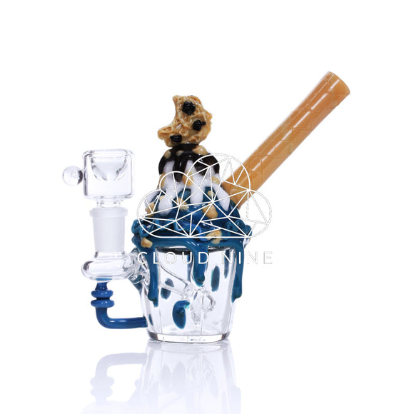 Cookie Monster Nano Rig Water Pipe with Flower Bowl