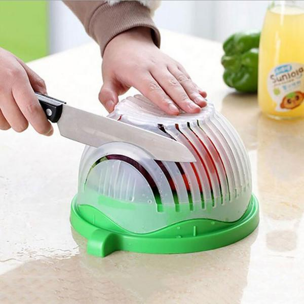Upgraded Salad Cutting Bowl, Green Kitchen Tool