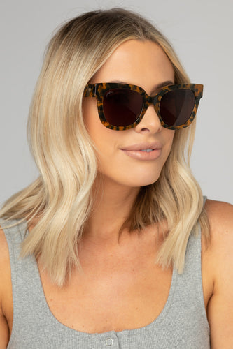Heather Oversized Sunglasses--Brown