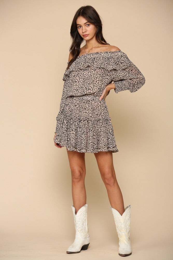Open Shoulder Leopard Dress