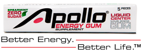 Pack of Apollo Energy Gum with the words Better Energy Better Life underneath