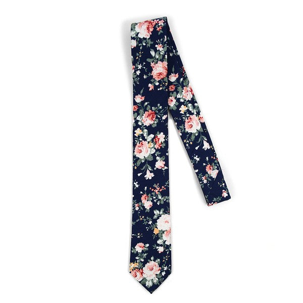 Navy Floral Cotton Men's Skinny Tie - Blushes & Blooms