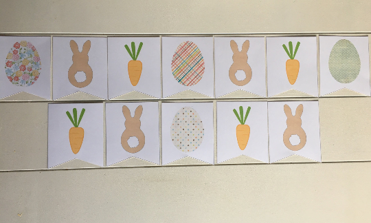 Bunny, Eggs, and Carrots Banner - Blushes & Blooms