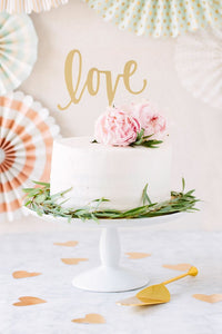 "GOLD ""LOVE"" CAKE TOPPER - Blushes & Blooms"