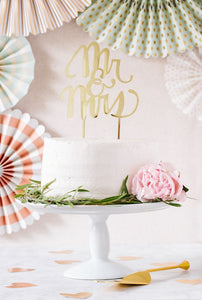"GOLD ""MR. & MRS."" CAKE TOPPER - Blushes & Blooms"