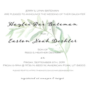 Haylee & Easton Wedding Greens Invitations - Blushes & Blooms