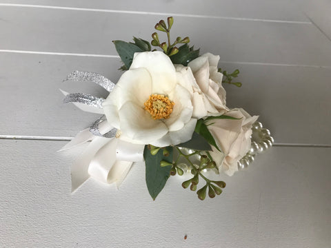 White Spray Rose Corsage - Blushes & Blooms