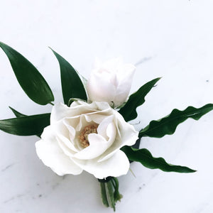 White Spray Rose Boutonniere - Blushes & Blooms