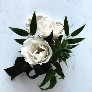 White Spray Rose Corsage With Succulent - Blushes & Blooms