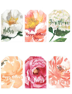Mother's Day Printable Floral Gift Tags - Blushes & Blooms