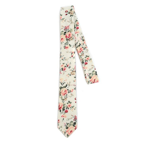 Blush Cream Cotton Floral Men's Skinny Tie - Blushes & Blooms