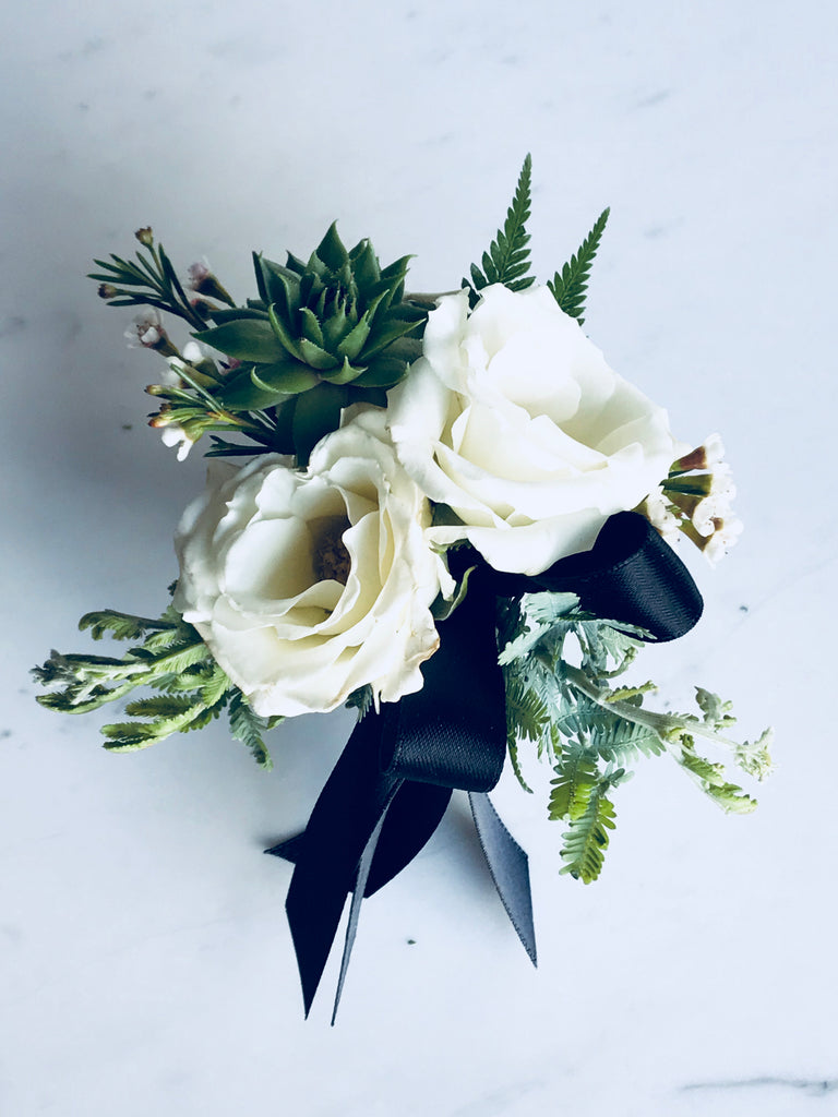 White Spray Rose Corsage With Succulent Blushes Blooms