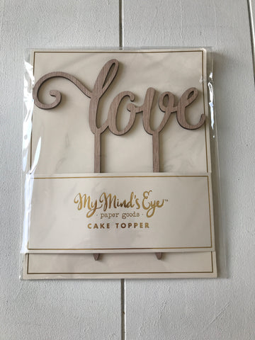 "RUSTIC ""LOVE"" CAKE TOPPER - Blushes & Blooms"