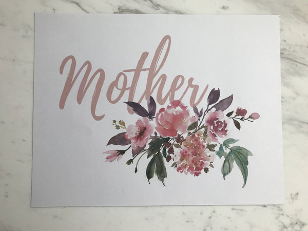 Mother's Day Printable Floral Banner, Floral Card, Floral Sign, & Floral Gift Tag Kit - Blushes & Blooms