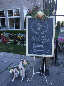 Chalk board with easle - Blushes & Blooms
