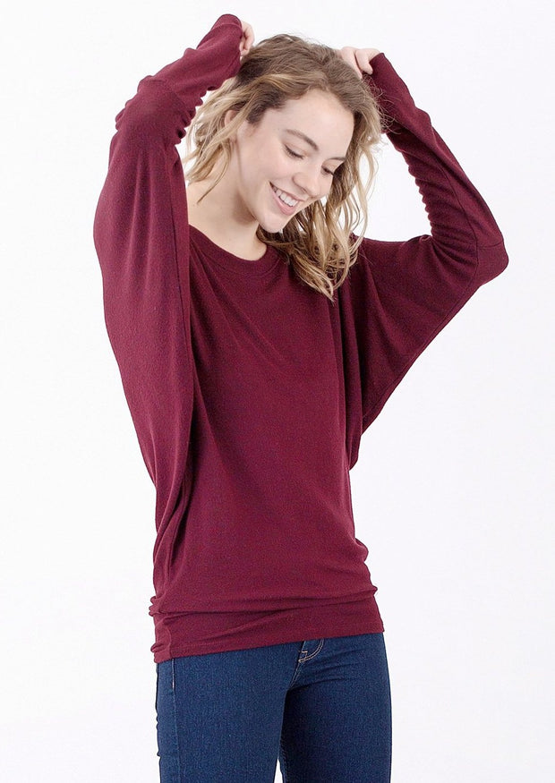 Natural Life Brushed Round Neck Top (Port)