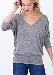 Natural Vibe Knit V Top (Heather Grey)