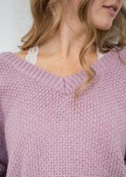 My Cozy Snuggly V Sweater (Mauve)