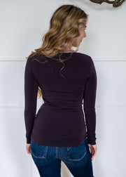 C'est Moi Bamboo V Neck Top (Charcoal)