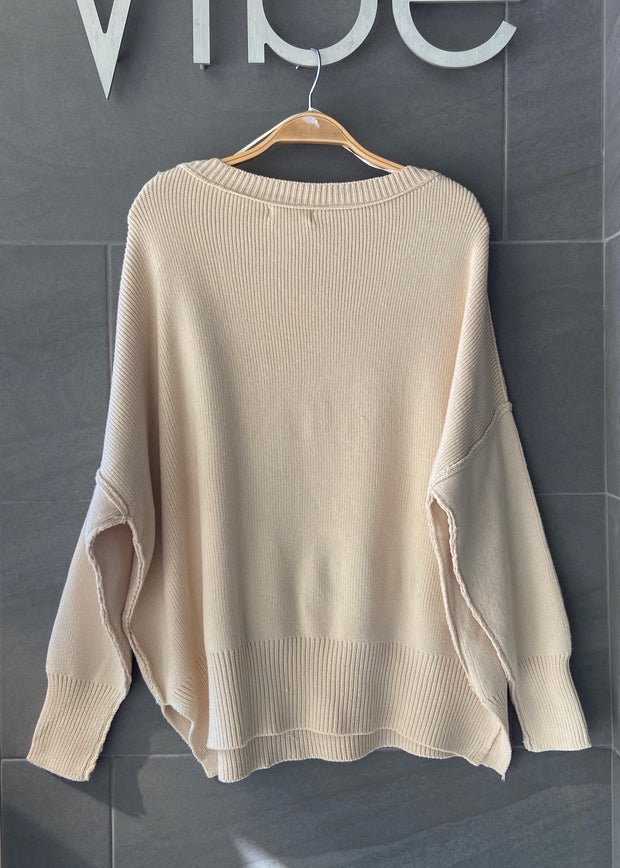 My Cozy Stay At Home Sweater (Beige)