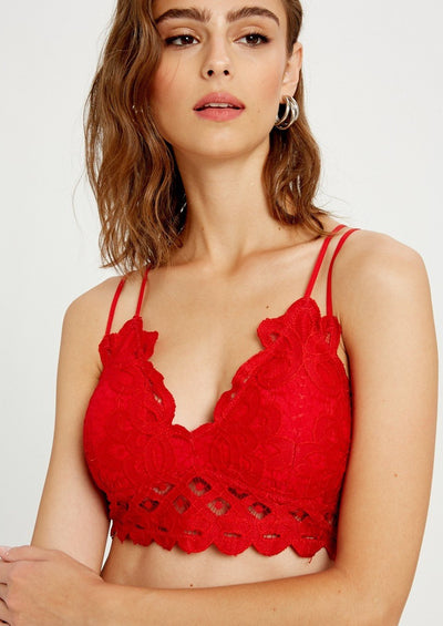 Wishlist Scalloped Lace Bralette (Red)
