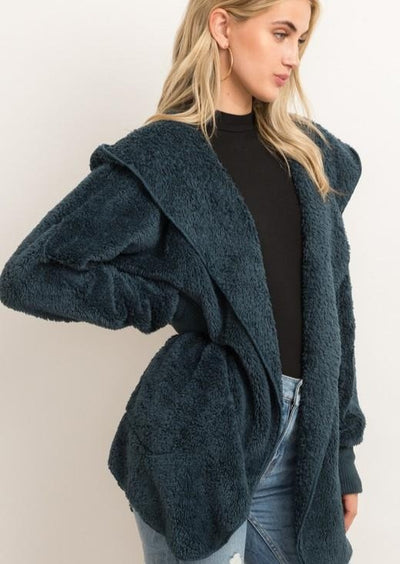Hem & Thread Plush Cardigan (Teal)
