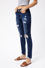 Kancan Mid Rise Distressed Skinny