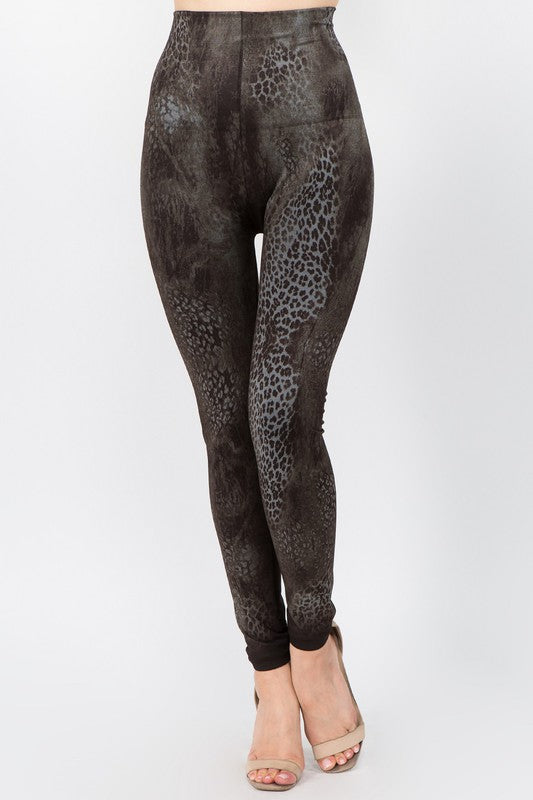M Rena Marbled Cheetah Legging (Dark Brown)