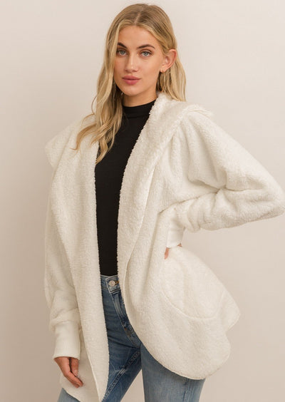 Hem & Thread Plush Cardigan (Off White)