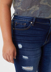 Kancan Mid Rise Distressed Skinny (Plus Size)