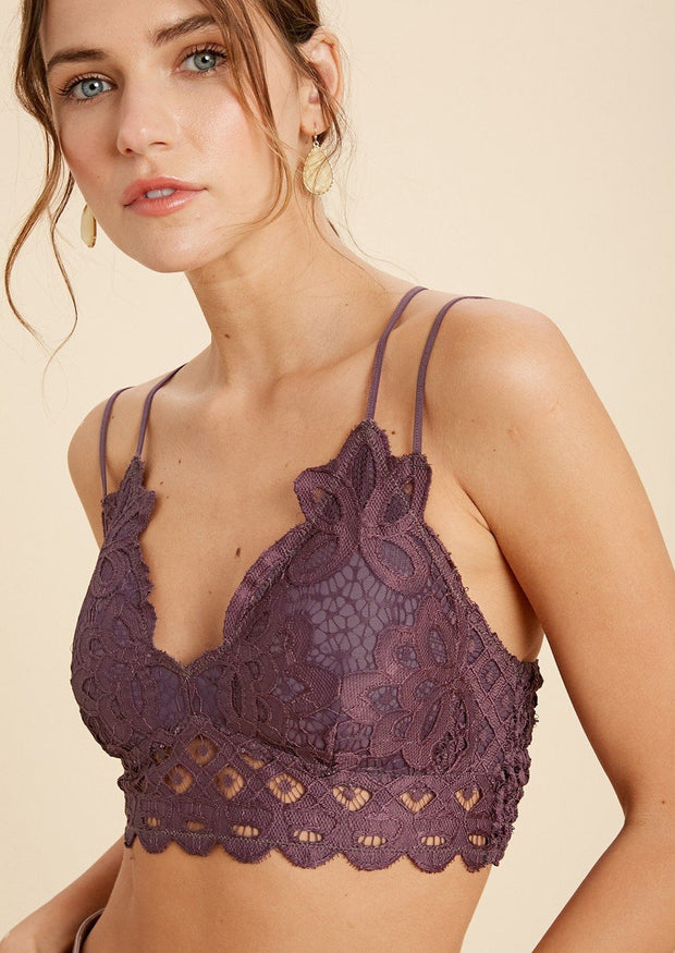 Wishlist Scalloped Lace Bralette (Plum)