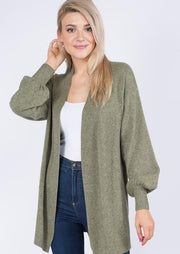 Dreamy Balloon Sleeve Cardigan (Olive)