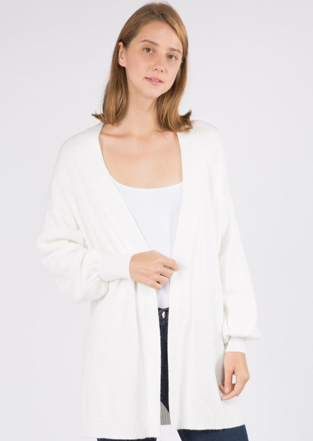 Dreamy Balloon Sleeve Cardigan (White)