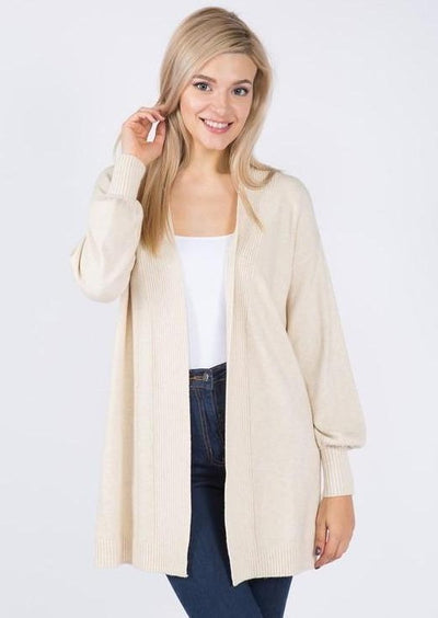 Dreamy Balloon Sleeve Cardigan (Oatmeal)