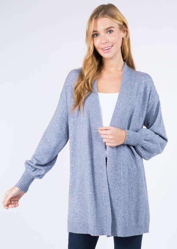 Dreamy Balloon Sleeve Cardigan (Light Blue)