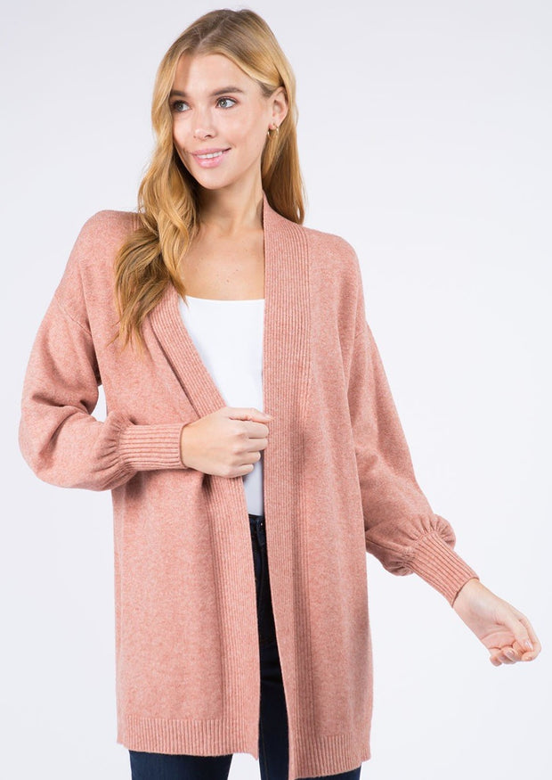 Dreamy Balloon Sleeve Cardigan (Peach)
