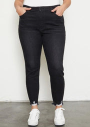 Kancan Plus Size Raw Hem Dark Ankle Skinny