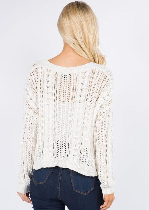Little Knit Cropped Cardi (Ivory)