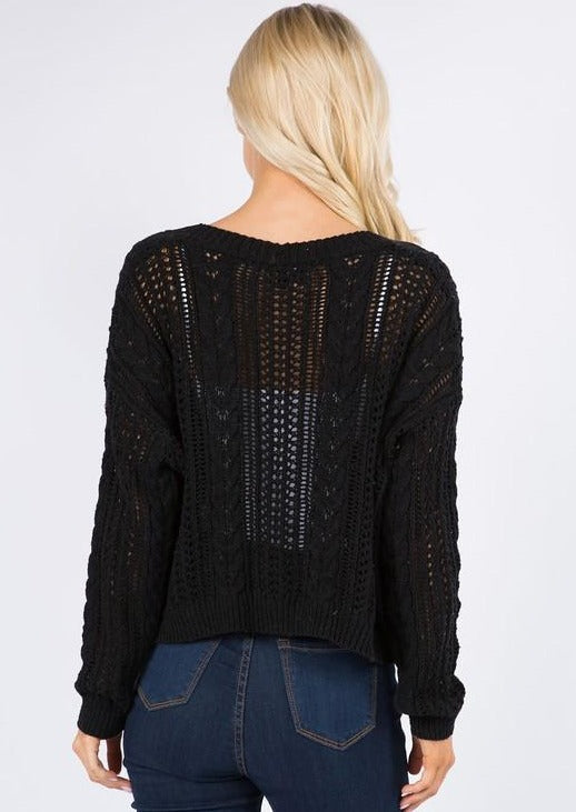 Little Knit Cropped Cardi (Black)