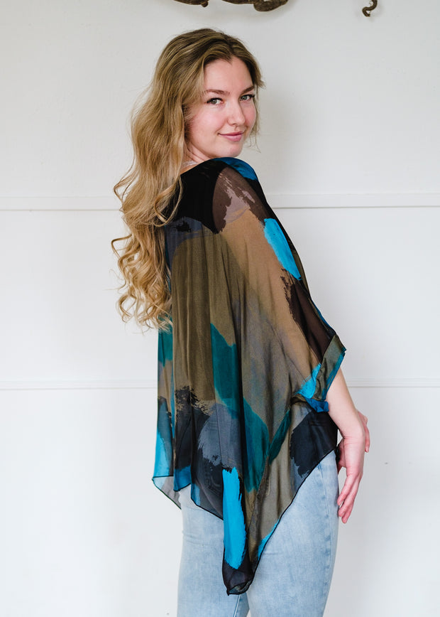 Abstract Silk Blouse (Teal)