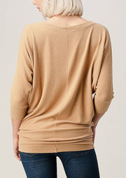 Natural Vibe Brushed 3/4 Sleeve Top (Honey)