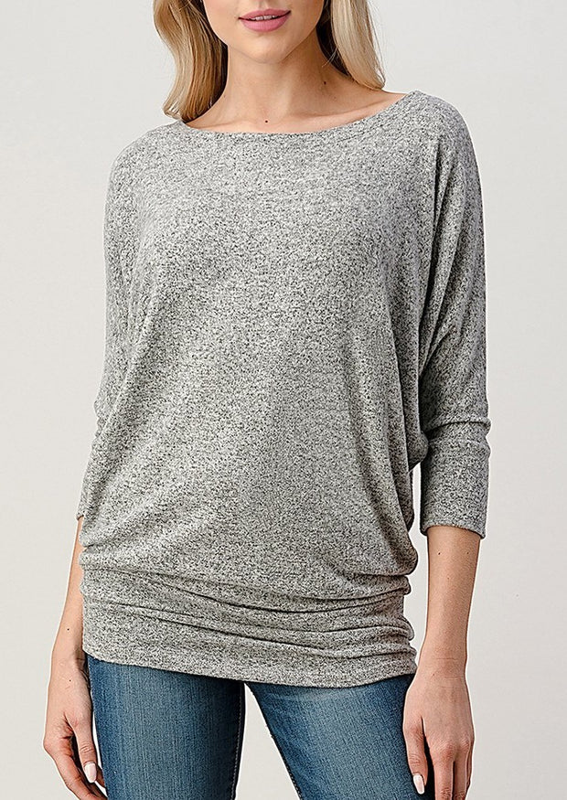 Natural Vibe Brushed 3/4 Sleeve Top (Heather Grey)