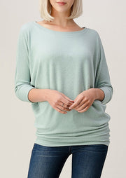 Natural Vibe Brushed 3/4 Sleeve Top (Mint)