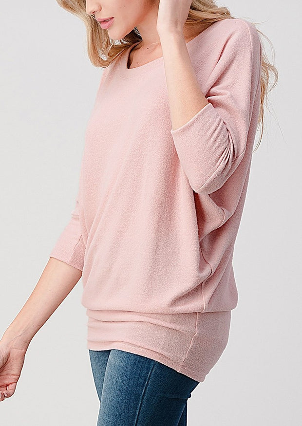 Natural Vibe Brushed 3/4 Sleeve Top (Baby Pink)