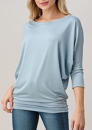 Natural Vibe Modal Round Neck Top (Blue Fog)