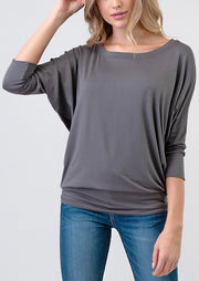 Natural Vibe Modal Round Neck Top (Charcoal)