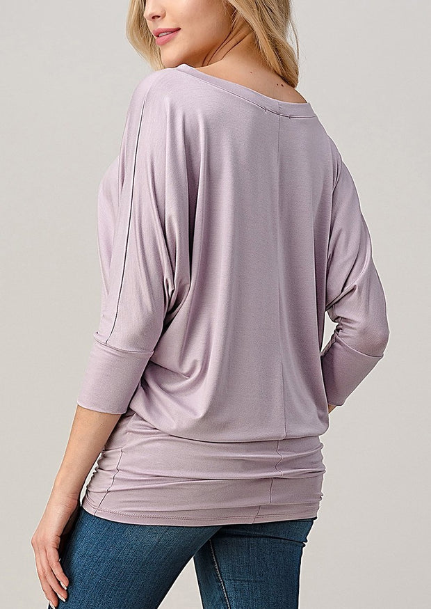 Natural Vibe Modal Round Neck Top (Lilac)