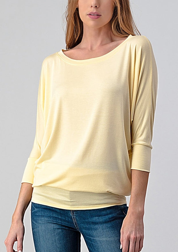 Natural Vibe Modal Round Neck Top (Mellow Yellow)