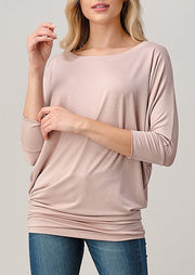 Natural Vibe Modal Round Neck Top (Mineral Pink)